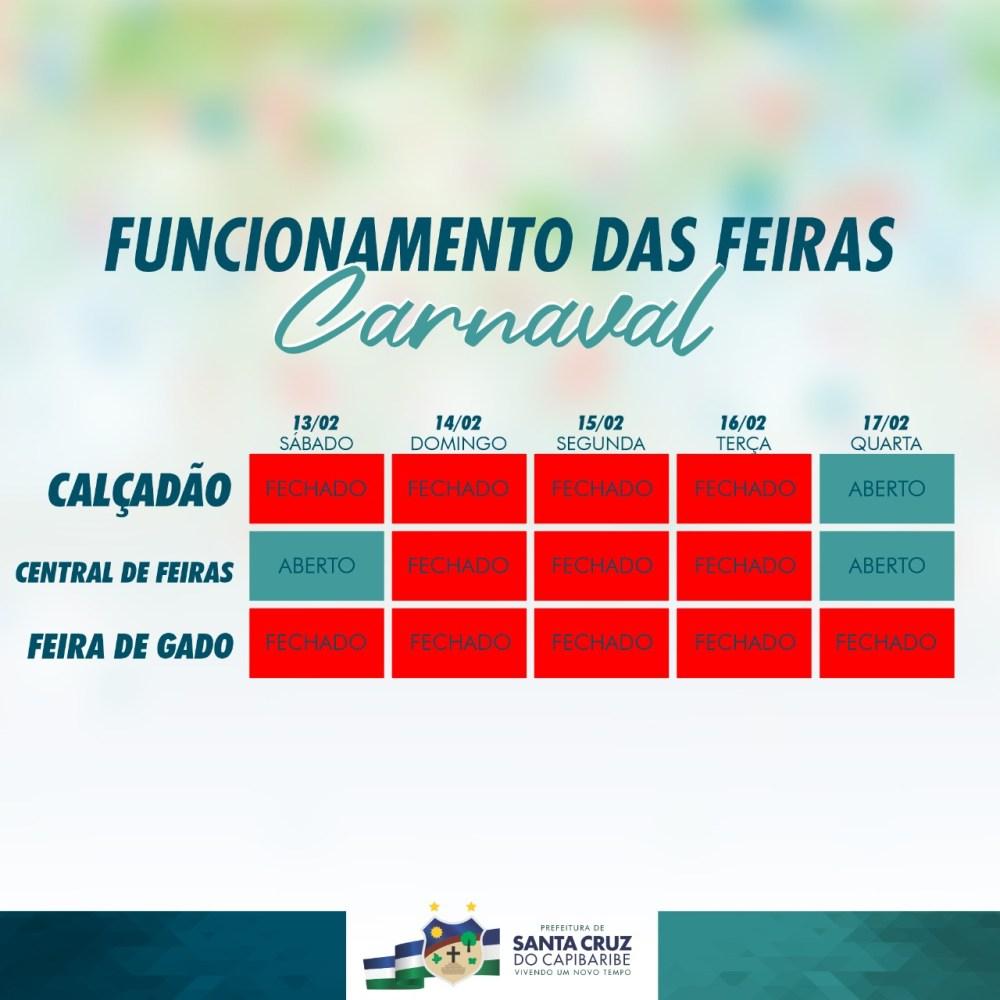 PREFEITURA DE SANTA CRUZ DO CAPIBARIBE DIVULGA CALENDÁRIO DE FUNCIONAMENTO DAS FEIRAS NO PERÍODO DO CARNAVAL