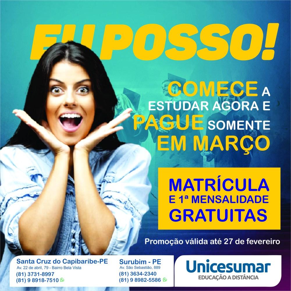 Promoção Unicesumar: Matrícula e 1ª mensalidade gratuitas