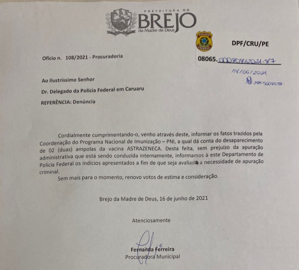 Prefeitura de Brejo da Madre de Deus emite nota sobre suposto desaparecimento de duas ampolas da vacina contra Covid-19