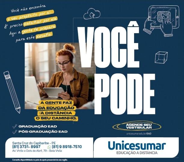 Faculdade Unicesumar continua com vestibular aberto em Santa Cruz do Capibaribe