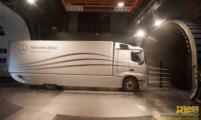 Caminhão Mercedes-Benz no túnel de vento mostrando a carenagem lateral diminuindo o vão livre com o solo, o defletor no teto e o baú arredondado