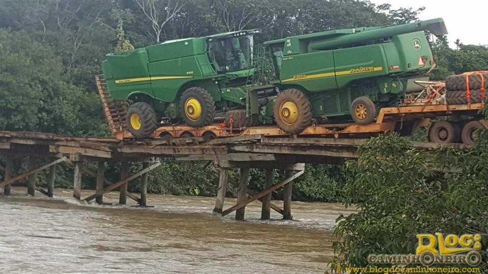 Caminhão fica pendurado em ponte no Mato Grosso