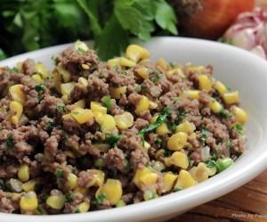 Carne moída com milho verde