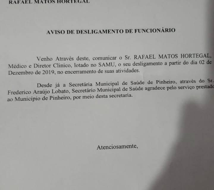Secretário de saúde de Pinheiro demite médico do SAMU primo da deputada Thaysa Hortegal