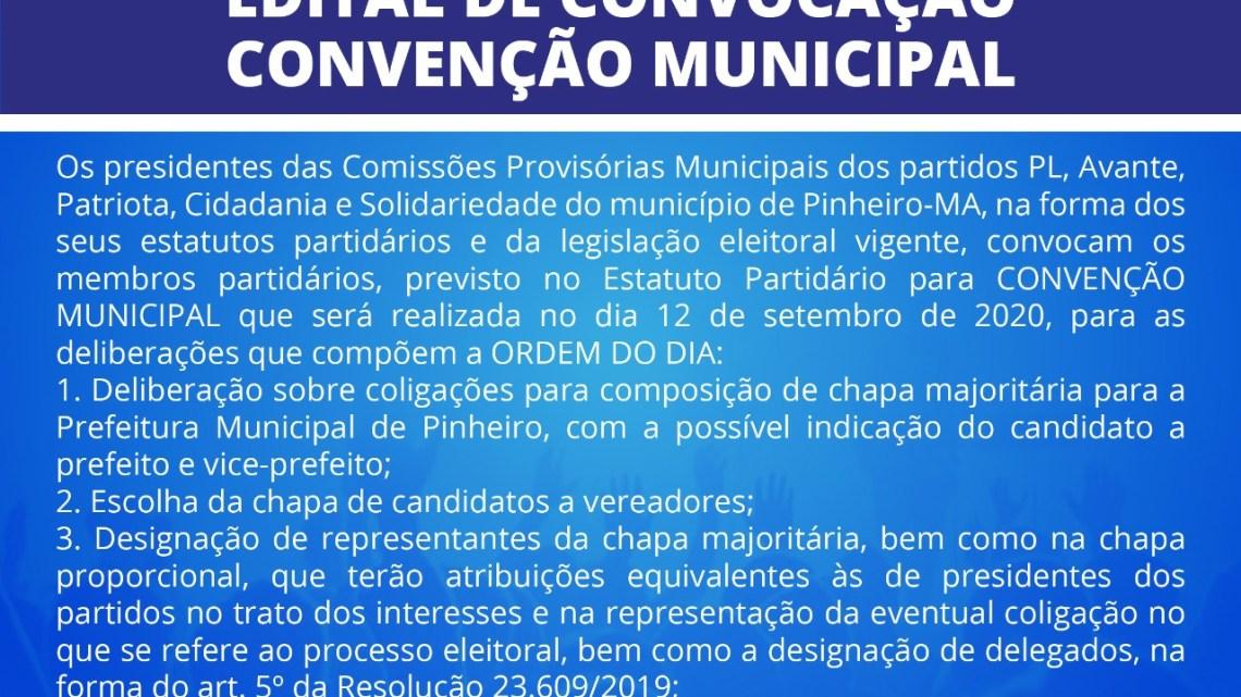 Pinheiro – PL, Avante, Patriota, Cidadania e Solidariedade convocam membros partidários para convenção municipal