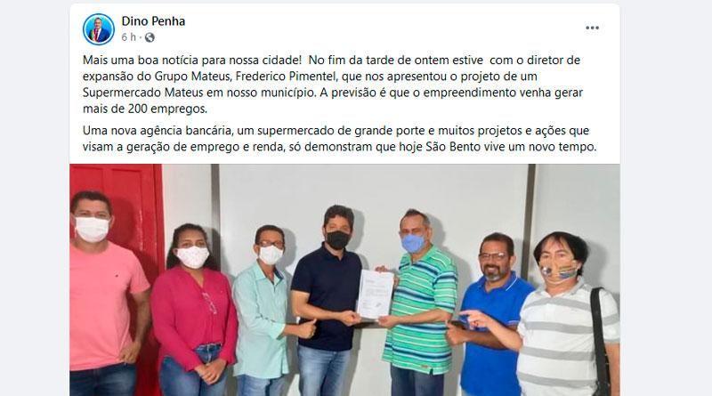 Dino Penha comemora implantação do supermercado Mateus em São Bento, sem pensar nos danos que poderá causar aos pequenos negócios