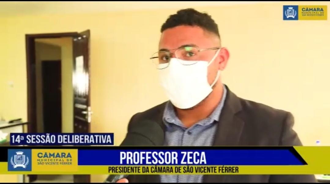 São Vicente Ferrer – Presidente da Câmara professor Zeca, faz balanço dos primeiros seis meses dos trabalhos legislativos em 2021
