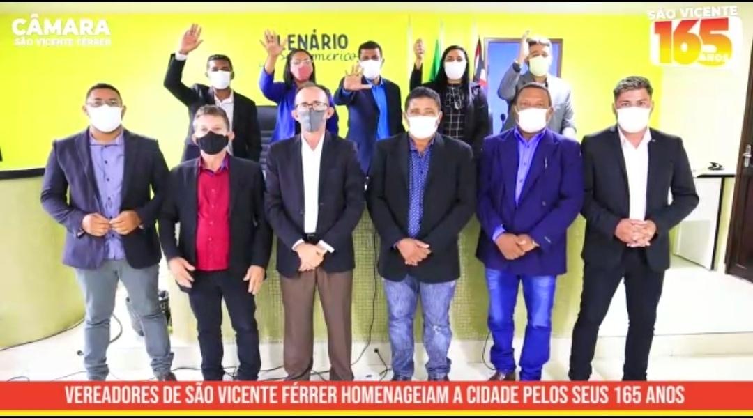 Vereadores de São Vicente Ferrer homenageiam a cidade, pelos seus 165 anos de emancipação política