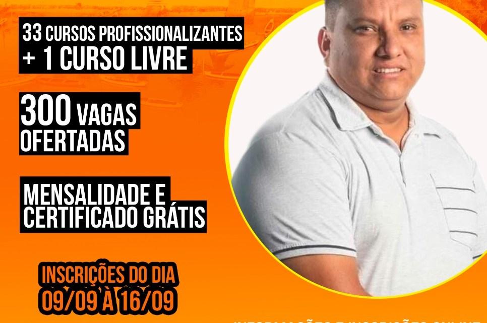"""Vereador Miecio Macedo em parceria com a """"Caravela Grupo Educacional"""", oferece 34 cursos gratuitos com 300 vagas disponíveis para jovens e adultos em Alcântara"""