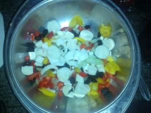 Salada de macarrão colorido I