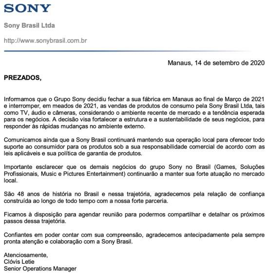 Sony fecha fabrica no Brasil