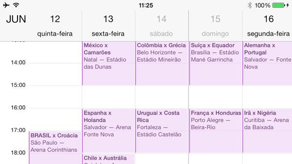 Calendário da Copa