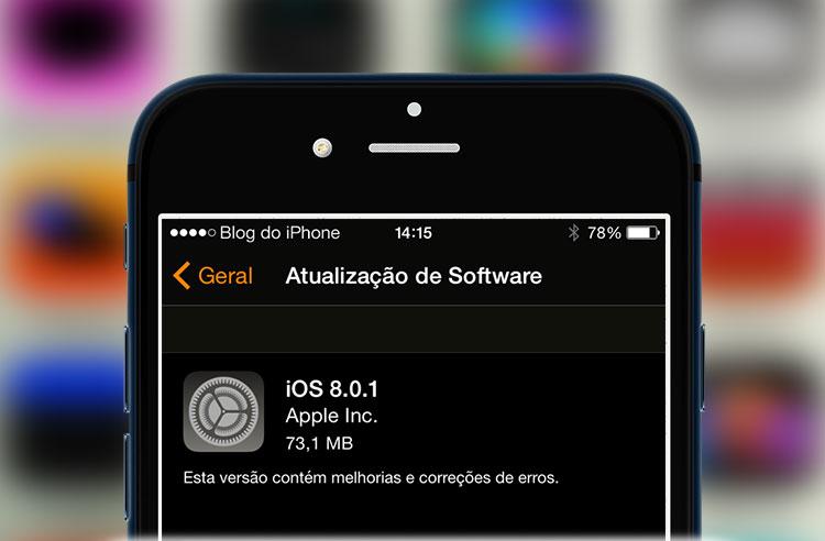Falha no iOS 8.0.1
