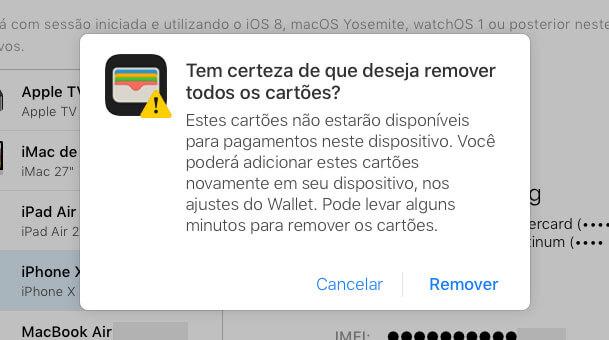 apple pay remoção do celular iphone
