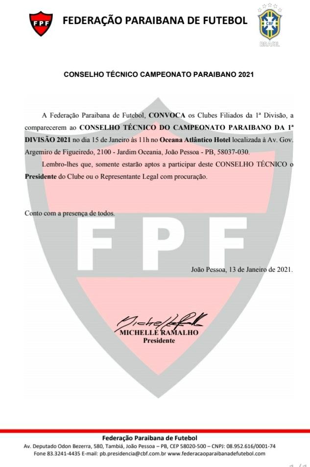 NESTA SEXTA –  FPF convoca reunião do Arbitral da Primeira Divisão