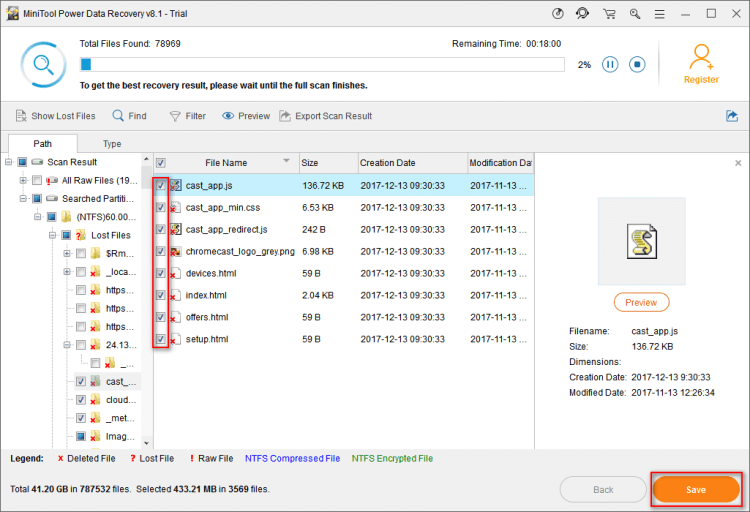 Select the files to recover on the software