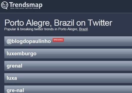 Primeiro lugar no Twitter em Porto Alegre/RS - 22/02/2012