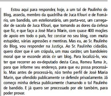 Ofensas do deputado Campos Machado (PTB) publicadas em Diário Oficial (2013)