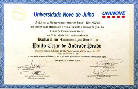 Diploma de Jornalismo
