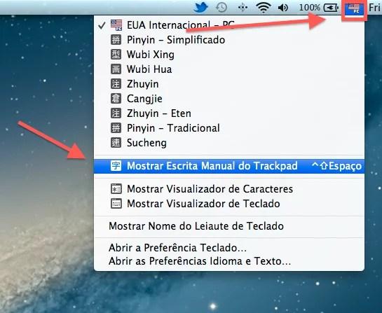 Como escrever caracteres chineses no Mac