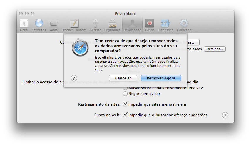 Como remover Cookies no Safari do Mac