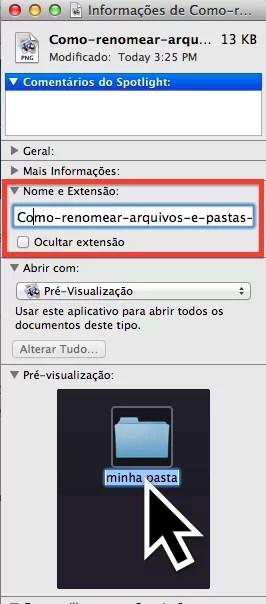 Como renomear arquivos e pastas no Mac
