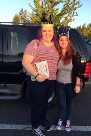 Sarah and Mackenzie on their homecoming day, playing the King of the Hill game