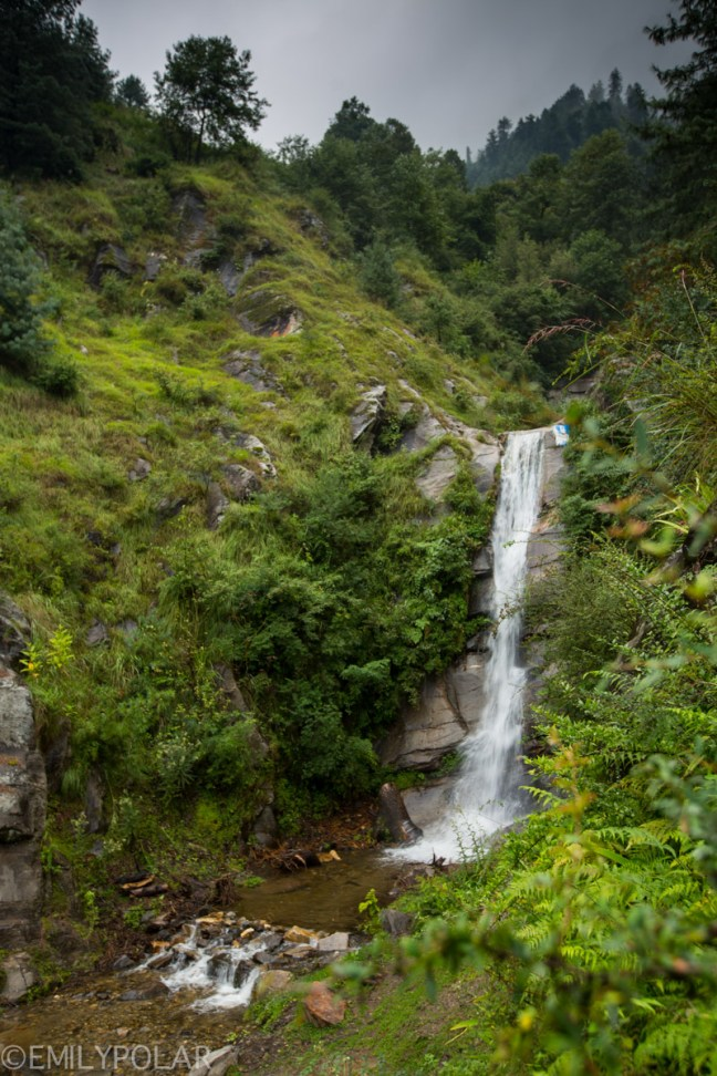 Waterfall in the green forest near Vashisht in Himachal Pradesh of India.