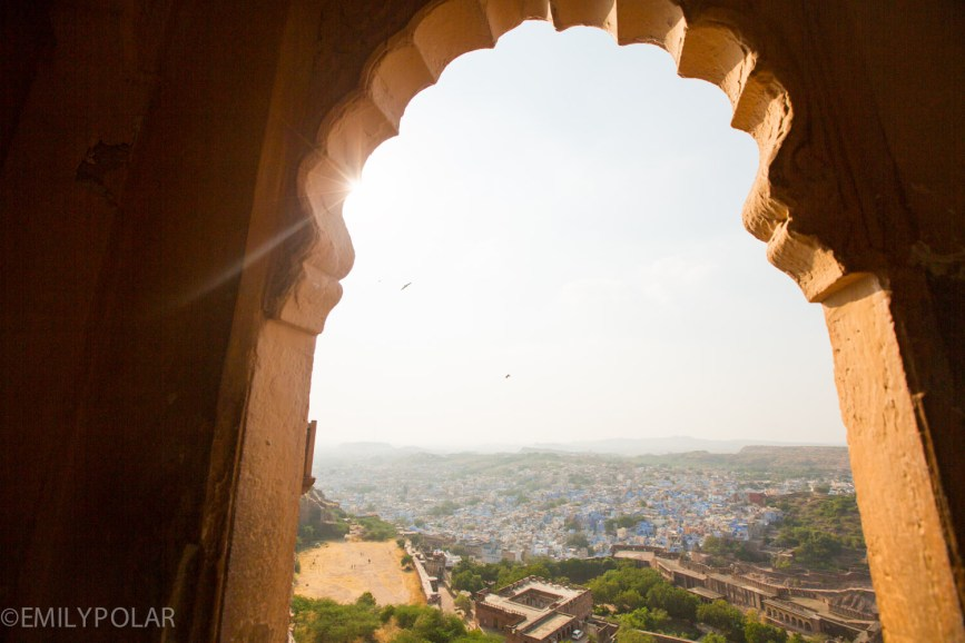 Rajastani arch window from inside the Mehrangarh Fort of Jodhpur, Rajasthan.
