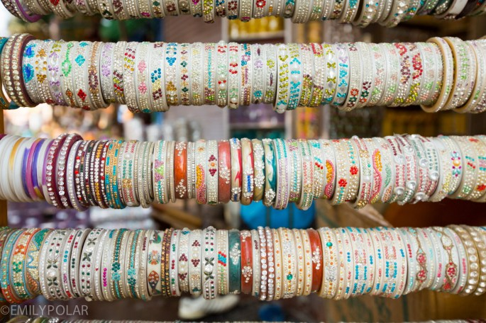 Bracelets for sale in the streets of Jodhpur, India.