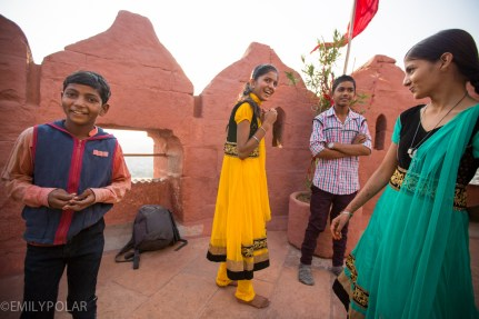 Indian kids hanging out at Mehrangarh Fort in Jodhpur, Rajasthan.