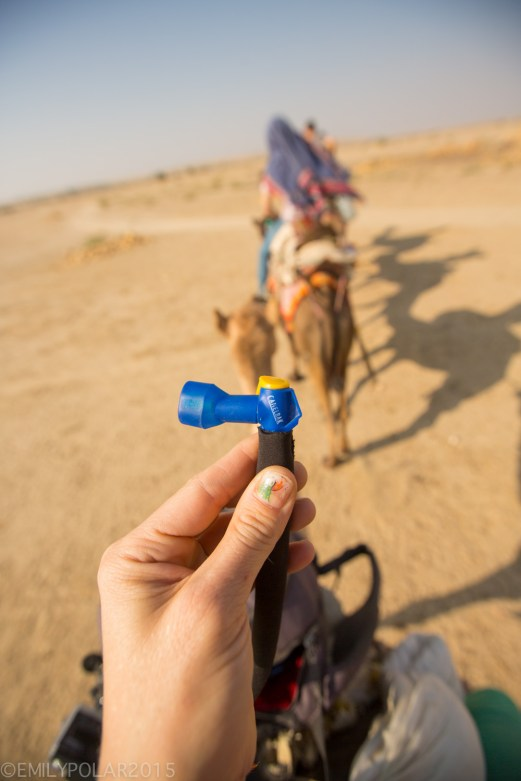 Mouth piece of Camelbak with hose for drinking water in the desert while riding a camel.
