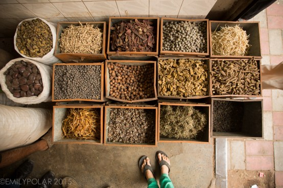 Spices, herbs and tea for sale at the spice market in Old Delhi, India.