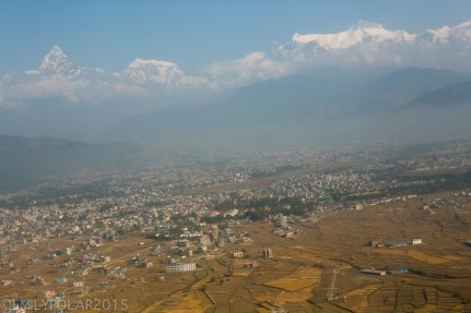 View of Pokhara and the Annapurna Himal from a plane.