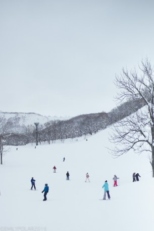 Skiers and snowboarders riding down the hill at Annupuri resort in Niseko, Japan.