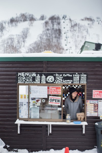 Small cafe serving food at base of Annupuri resort in Niseko, Japan.