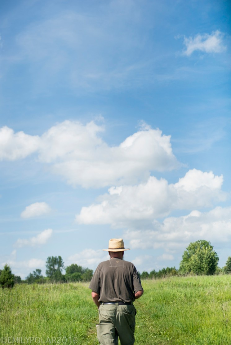 Man walks down a dirt road through green grassy meadow under a blue sky and trees in Wisconsin.