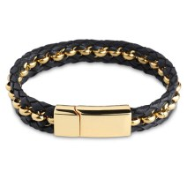 Gold Beads Leather Bracelet