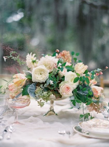 vintage centerpieces with greenery