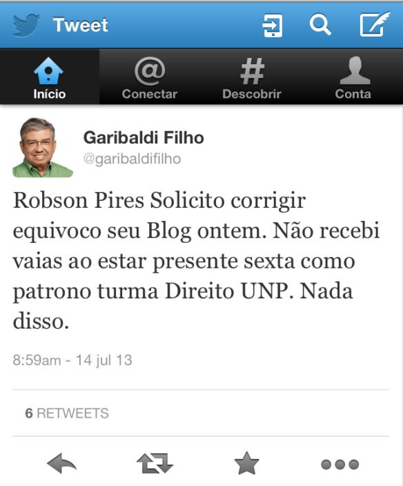 Garibaldi pede correção de notícia