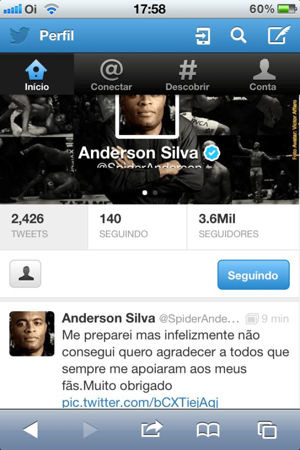 Tuiter de Anderson Silva após a luta