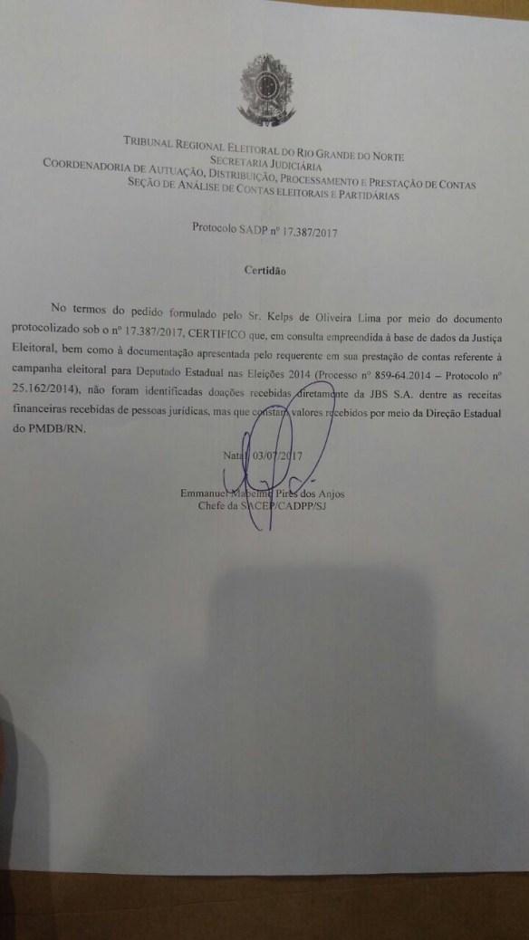 Certidão do TRE prova que Kelps não recebeu dinheiro de empresa citada