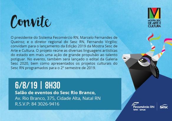 Mostra Sesc de Arte e Cultura será lançada no dia 6 de agosto