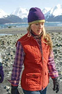 Duluth Women Model Amanda in Cortland Quilted Vest and Free Swingin' Flannel