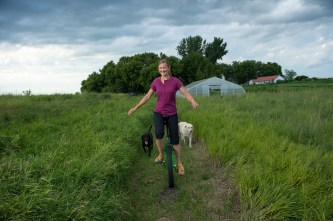 Gardening Clothes: Unicycling with ease in a No Sweat Longtail T Shirt #57514 and NoGA Capri Pants #57502