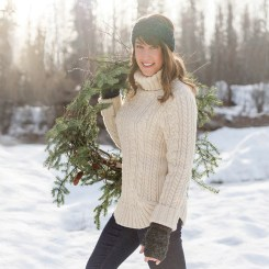 Sweaters for Women: Fisherman Sweater Turtleneck In Ivory