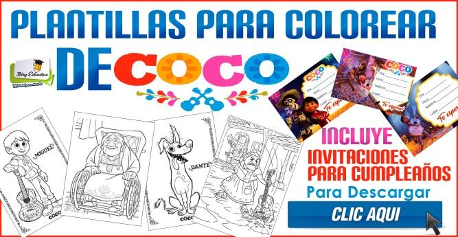 Plantillas para colorear de Coco la película - Incluye invitaciones