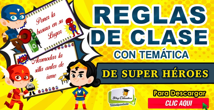 Reglas de clase con temática de Super héroes gratis