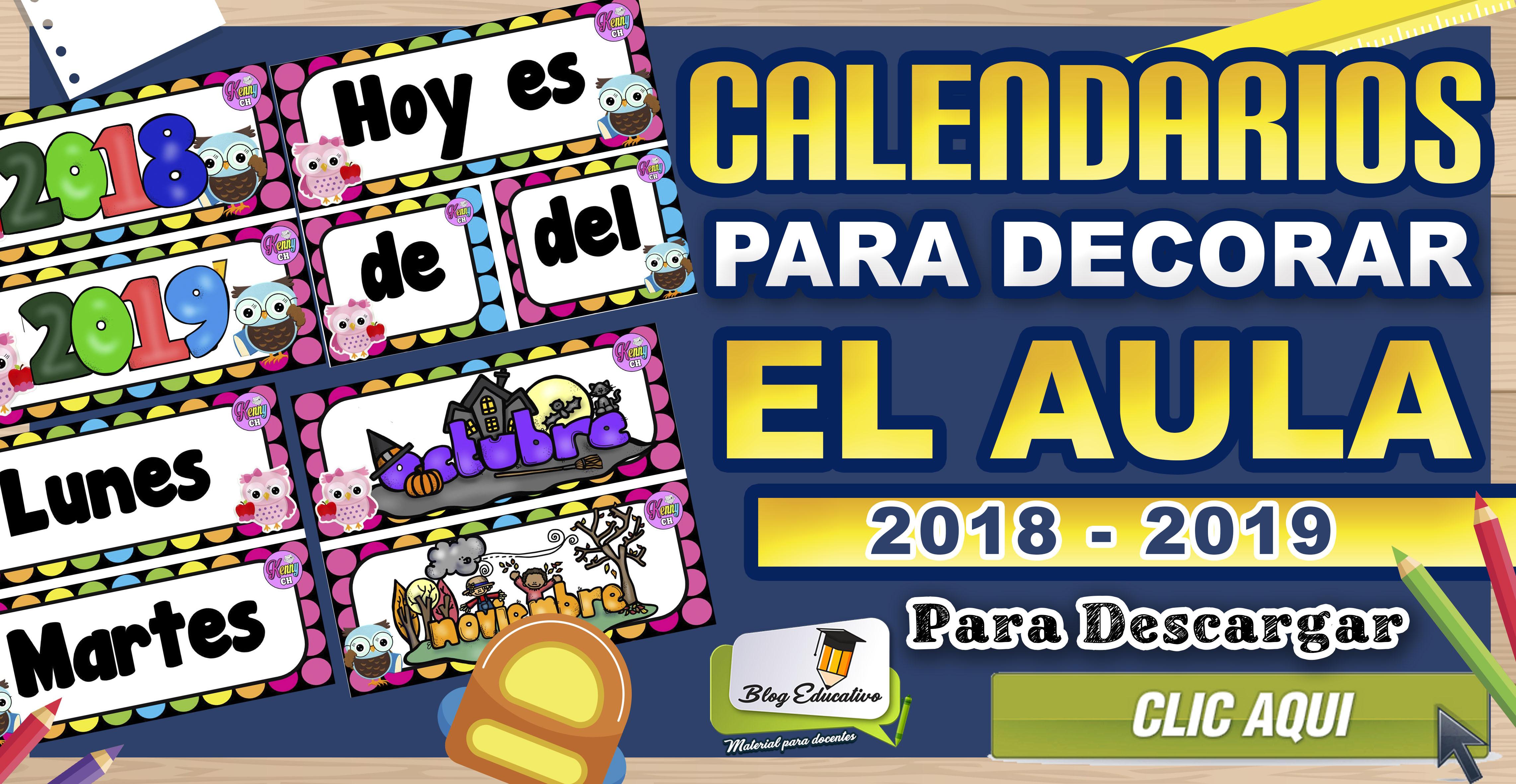 Calendarios para decorar el Aula - 2018 2019 gratis