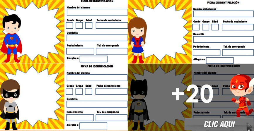Gafetes Super Héroes - Fichas de identificación - Blog Educativo